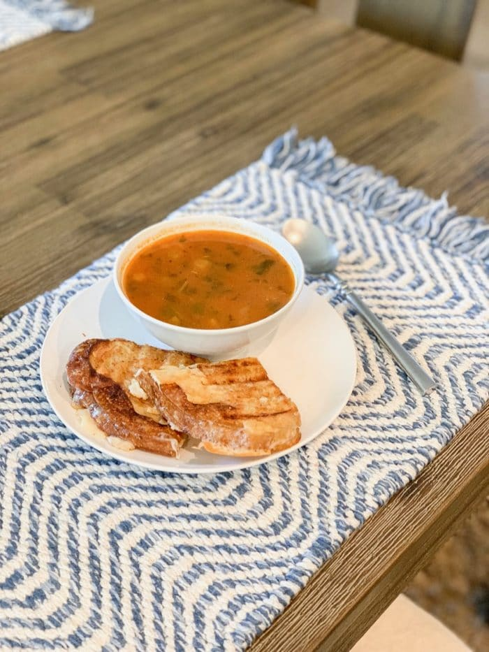 Daily Eats | Daily Harvest minestrone soup with a fresh grilled cheese (sourdough, Kerrygold butter, and havarti cheese). So simple and yummy!