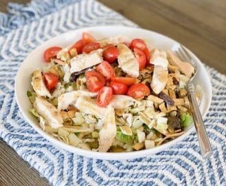 In my Trader Joe's salad: southwestern salad kit, cherry tomatoes, and chicken. Took me about 3 minutes to make. Perfect!