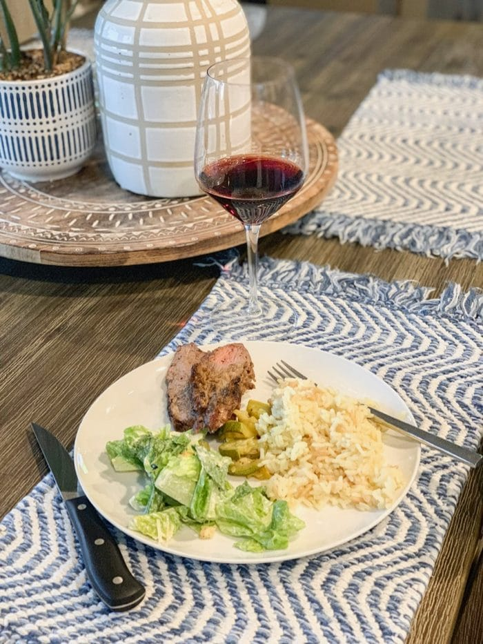 For dinner, we had a backyard BBQ with friends. The boys BBQ'd tri-tip and I made rice pilaf, sautéed zucchini, and caesar salad. Sooo good. We stayed up late again, in the backyard with friends and wine and a little bit of dark chocolate.