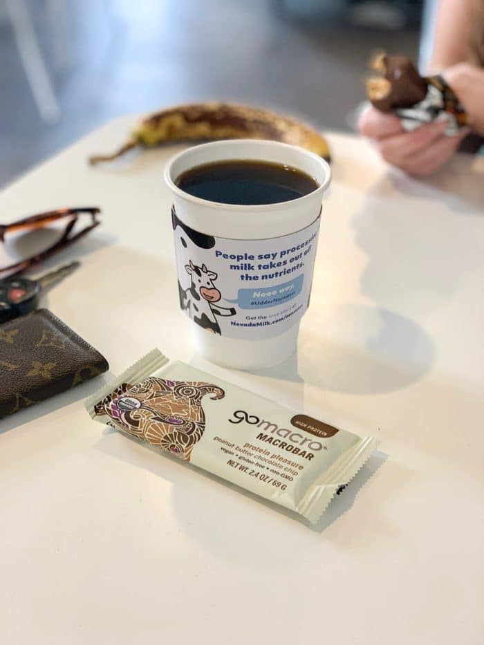 After breakfast I recorded a Podcast with a client who has an awesome Podcast (I'll share it as soon as it's up!), worked a bit, and then ran to coffee with my cousin Haley. There, I had black coffee and a GoMacro bar.
