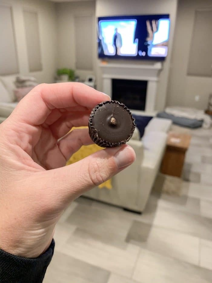 """One dark chocolate peanut butter cup! And a cup of """"Well Rested"""" tea to follow."""
