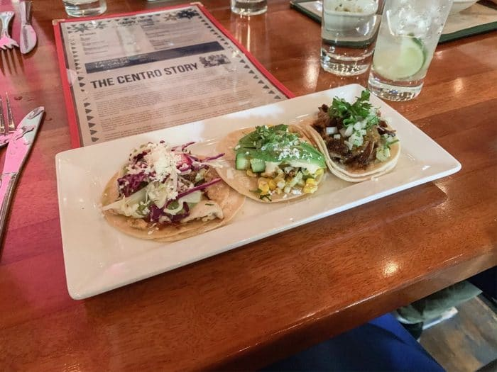 Happy hour meal of 3 small street taco's at Centro in Sacramento
