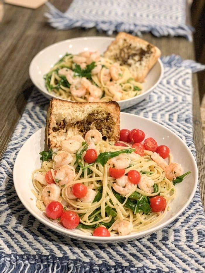 Shrimp linguine with olive oil and lemon. I added cherry tomatoes because we have lots to use! Oh, and a side of bread with olive oil and balsamic.