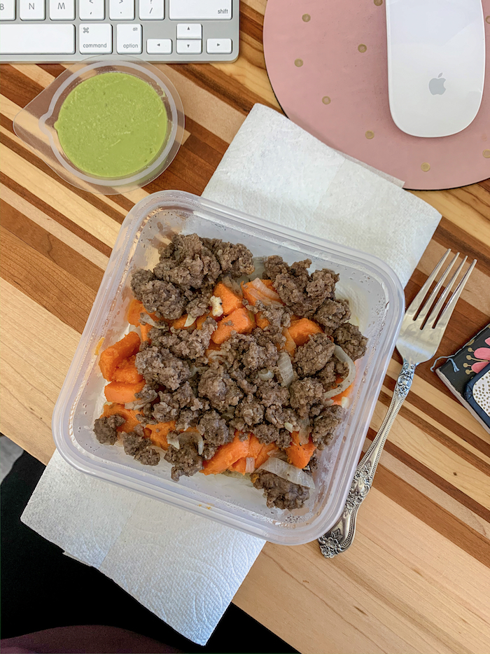 Miracle noodles with sweet potato and ground beef.