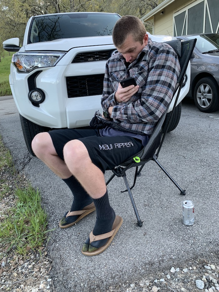 Marco sitting outside