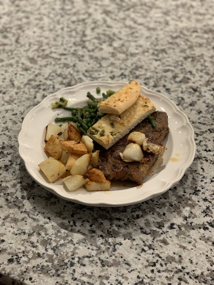 Steak, potatoes, and green beans
