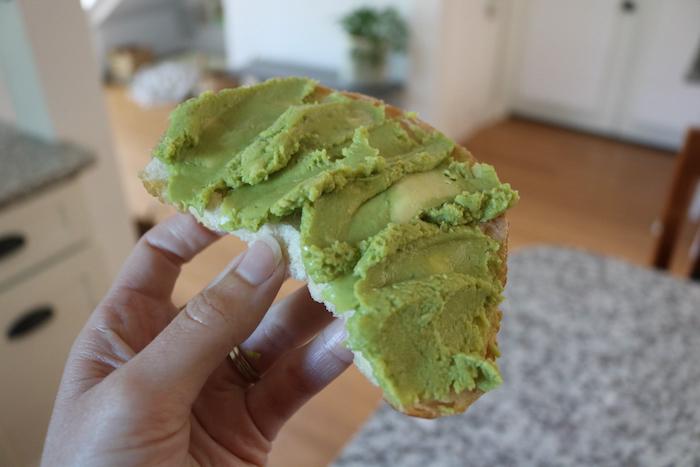 avocado toast (untoasted)- I used a whole guacamole packet