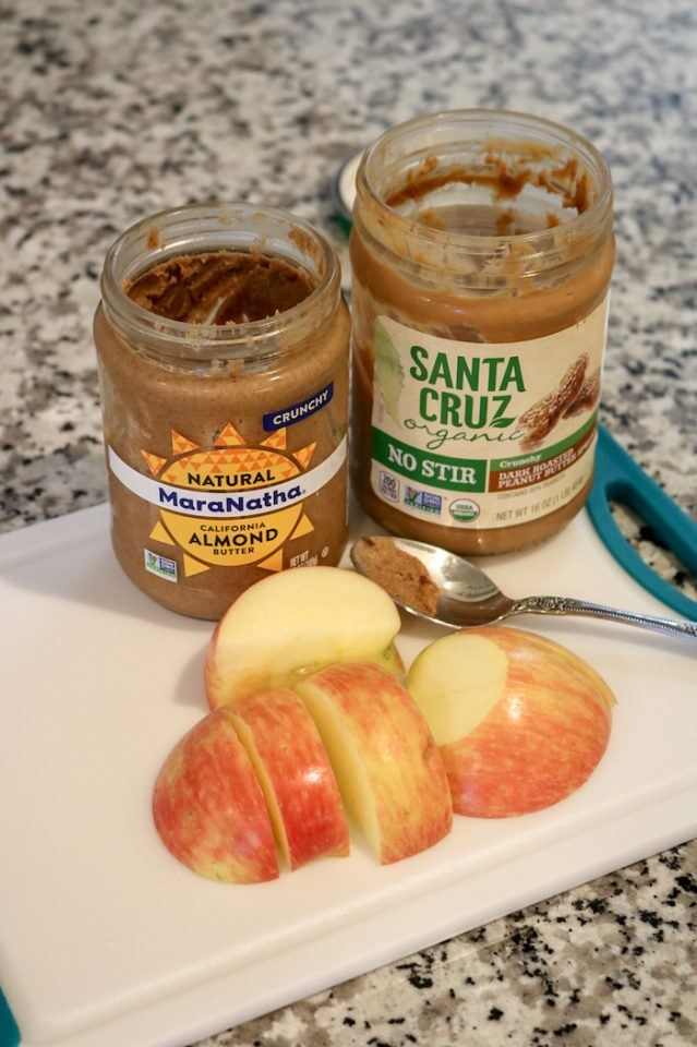 apple with peanut and almond butter