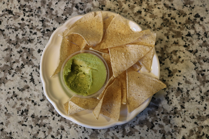 snack plate of chips and guac