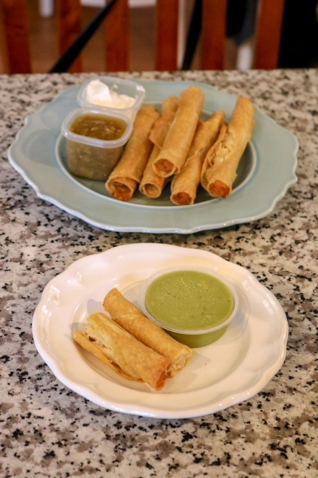 chicken taquitos and had one with guac myself