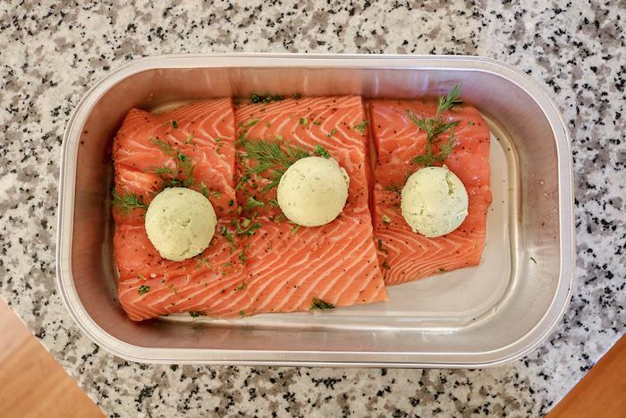 salmon, from Costco. Pesto butter.