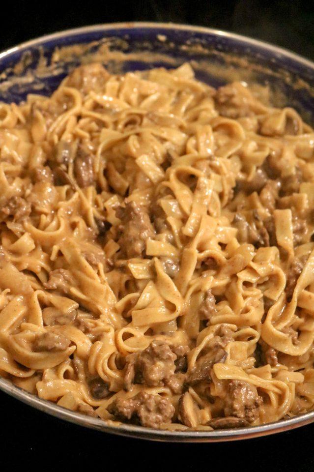 Beef pasta stroganoff