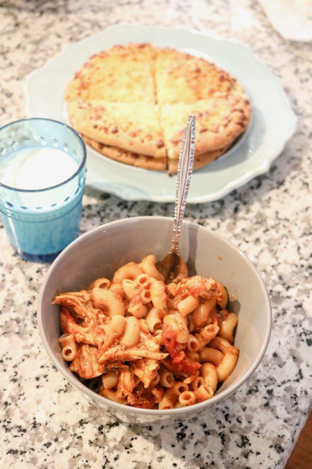 brown rice pasta with chicken, marinara sauce