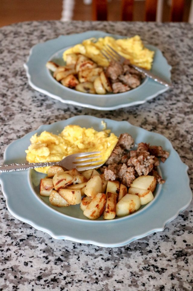eggs, potatoes, and ground breakfast sausage
