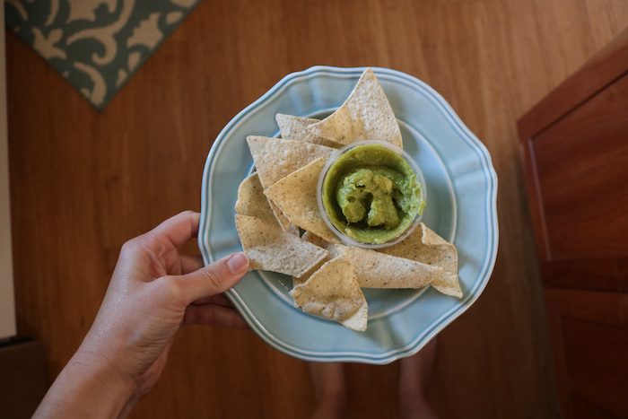 snack of Siete chips with guacamole