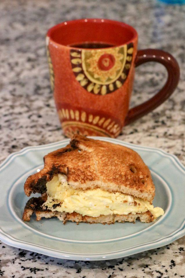 A quick breakfast sandwich, which we split