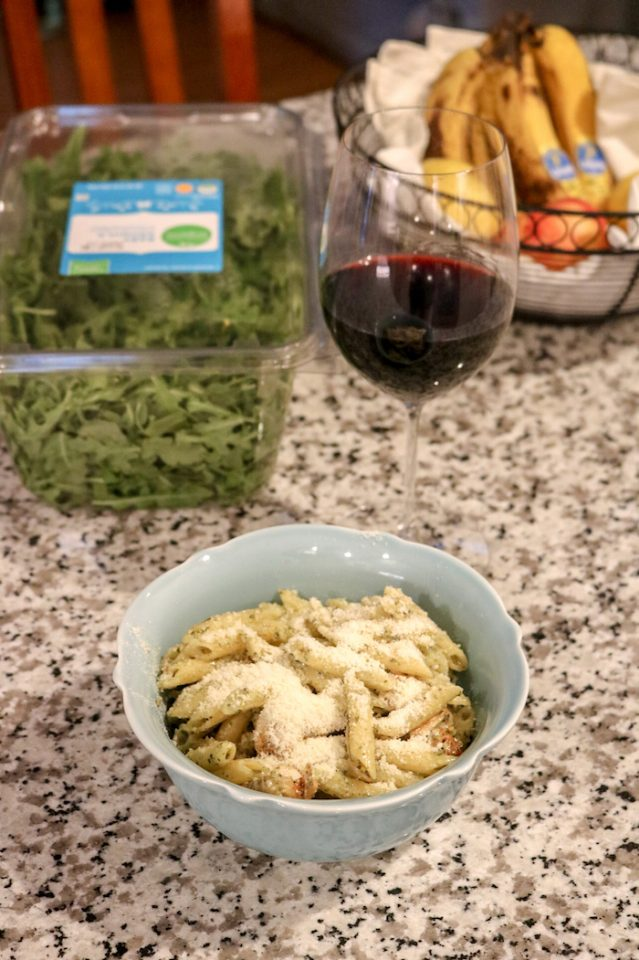 Pesto noodles with parmesan and sautéed chicken with red wine