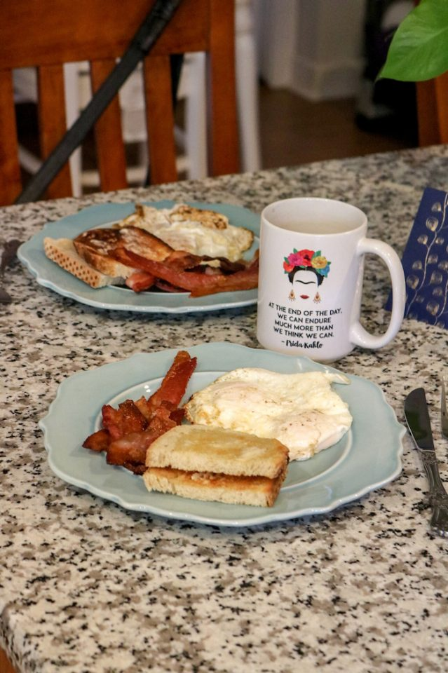 two eggs, toast, and bacon. So good.