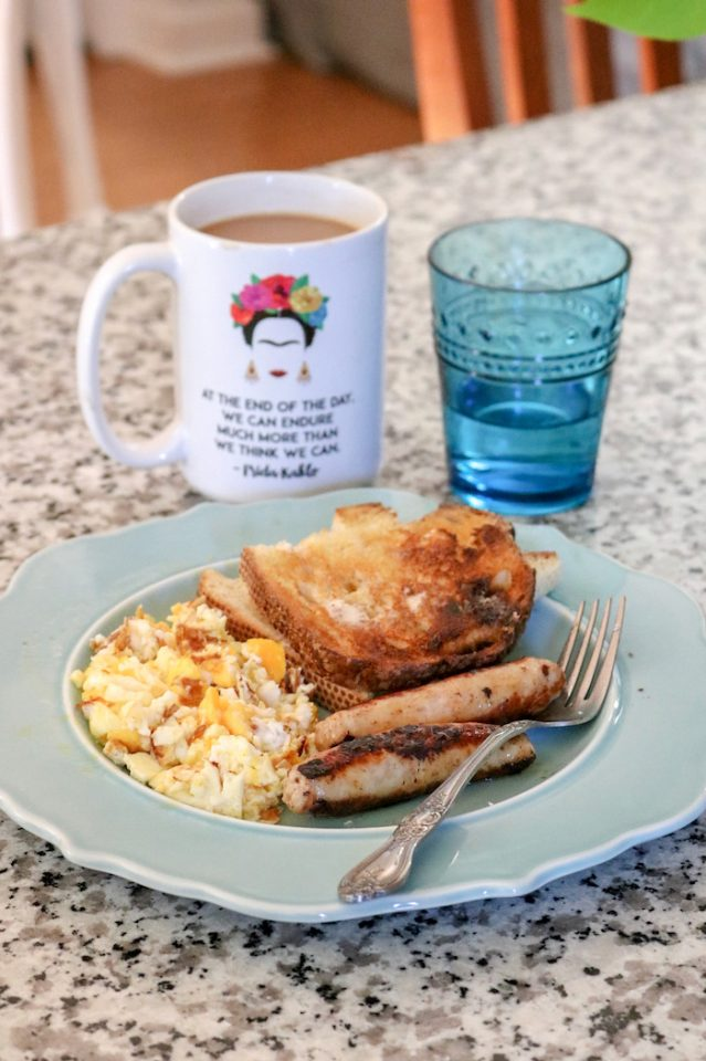 coffee with eggs, toast, and chicken breakfast sausage (from Trader Joe's, my fav!).