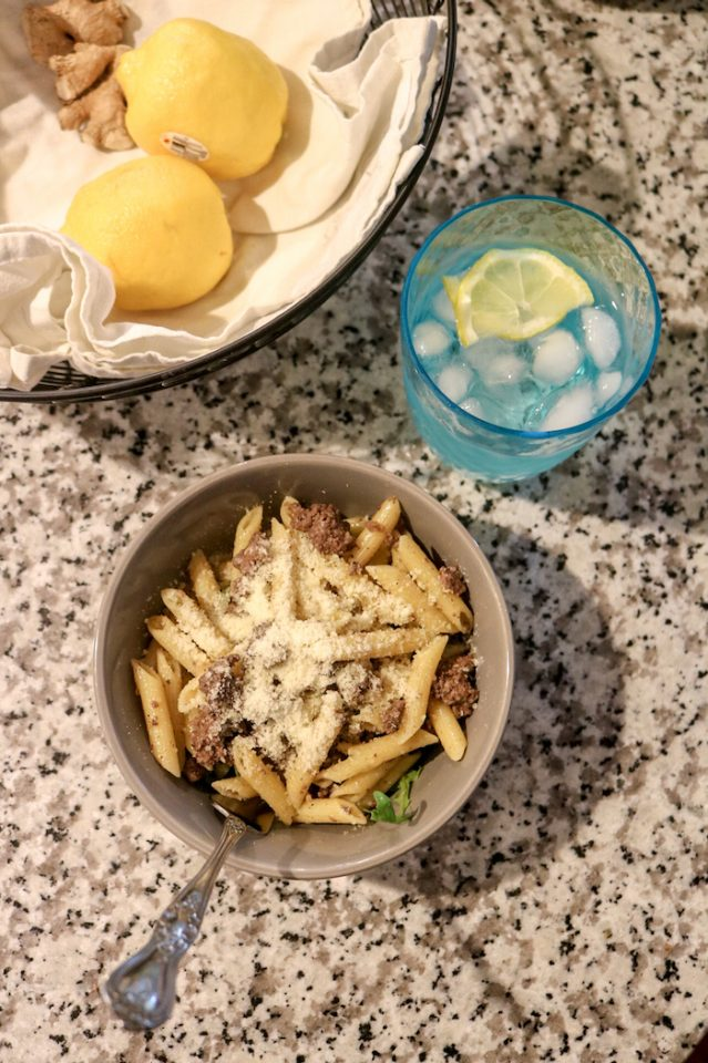For dinner I made a simple pasta with olive oil, garlic, and ground beef. I added a bed of arugula to the bottom of mine and had lemon water with it.