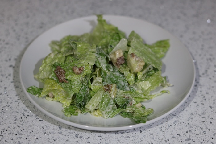Caesar salad from a kit and pizza (easy!).