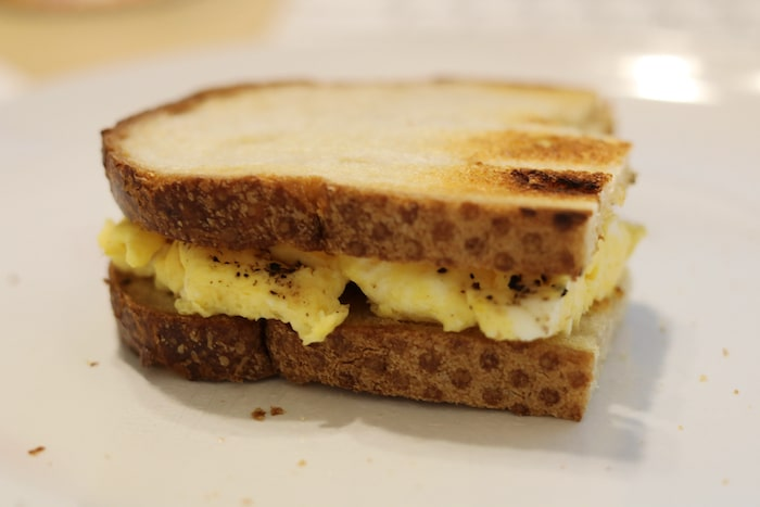 Egg on sourdough sandwich