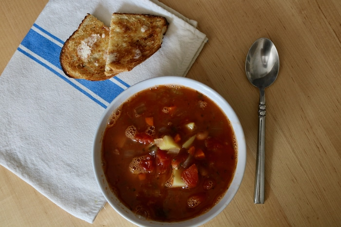 "I had this soup (same ""Yummiest Vegetable Soup"" that I linked to in Wednesdays eats) with a slice of toast and butter. Mmm-mmm good!"