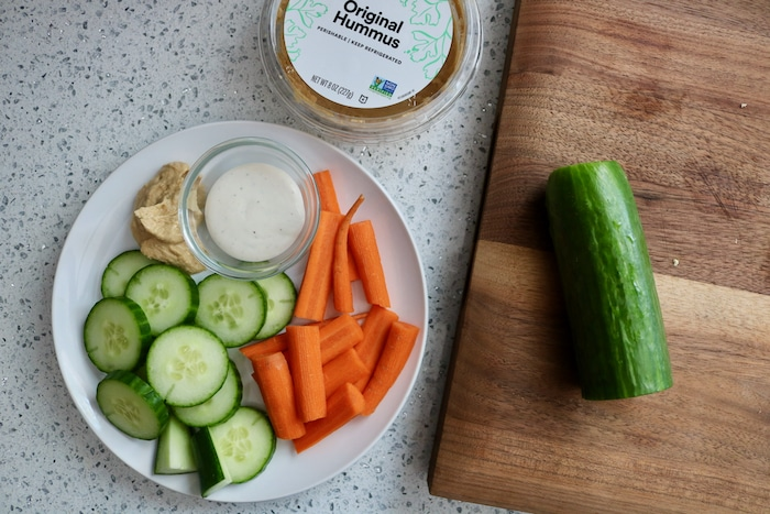 I cut up some carrots and cucumber and paired them with hummus and ranch (both flavors sounded so good)