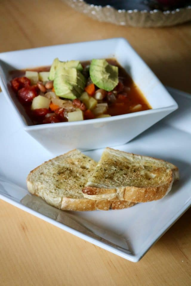 Soup with avocado on top (love avocado with soup!) and sourdough on the side. I toasted the sourdough in the toaster oven with a little bit of olive oil, garlic powder, sea salt, and a dash of oregano