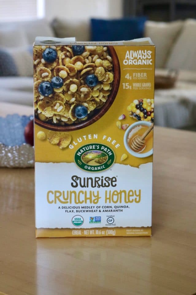 "Sunrise Crunchy Honey Cereal with whole milk, or ""Heritage Flakes"" with honey added to it (same company). SO yum first thing in the morning."