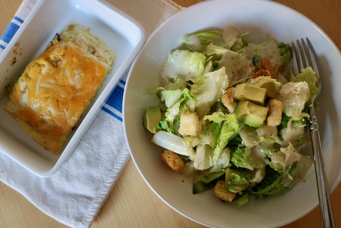 I made caesar salad and heated up leftover enchiladas (so good). If anyone wants this enchilada recipe, let me know in the comments and I'll add it.