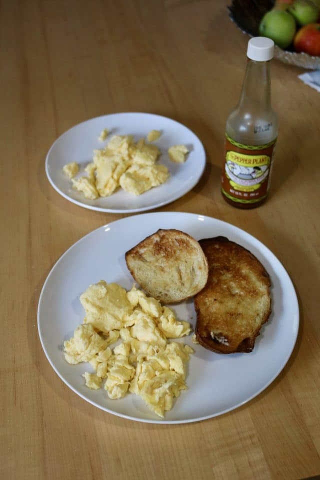 We ate breakfast (eggs and toast)