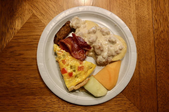 For brunch we had biscuits and gravy, quiche, fruit, bacon, and sausage.