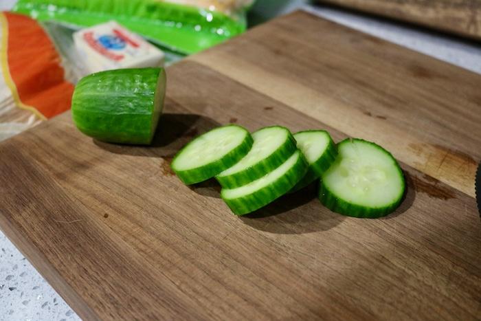 Cucumber while I made a small quesadilla