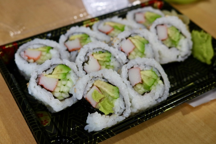 I grabbed some California rolls while there (sushi has sounded so good and I so wish it were more recommended to have raw fish!). The California roll sufficed and was delicious.