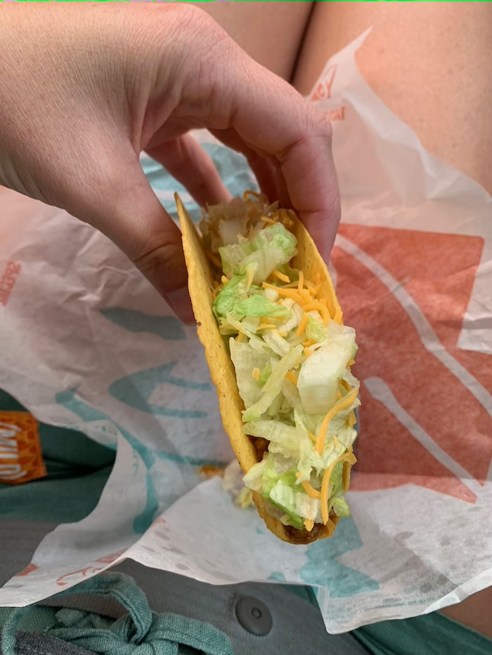 The ONLY thing that sounded good was exactly one crunchy taco from Taco Bell. So, crunchy taco it was! So good and so hit the spot. Just what I needed