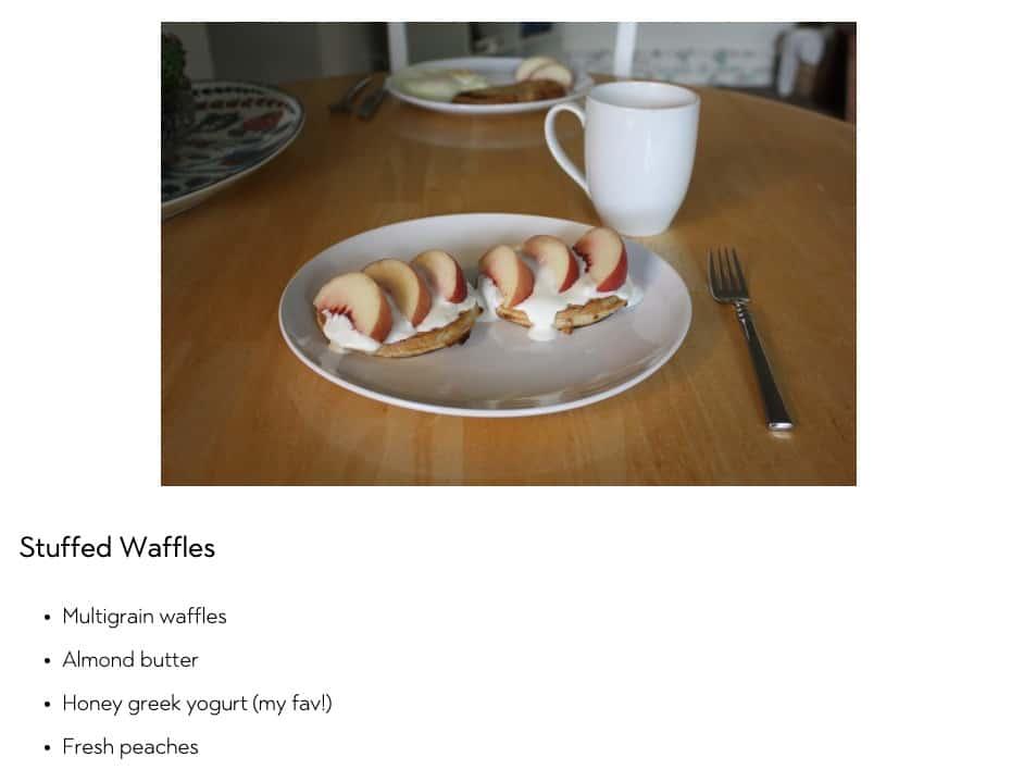 Peaches and Yogurt on a Waffle