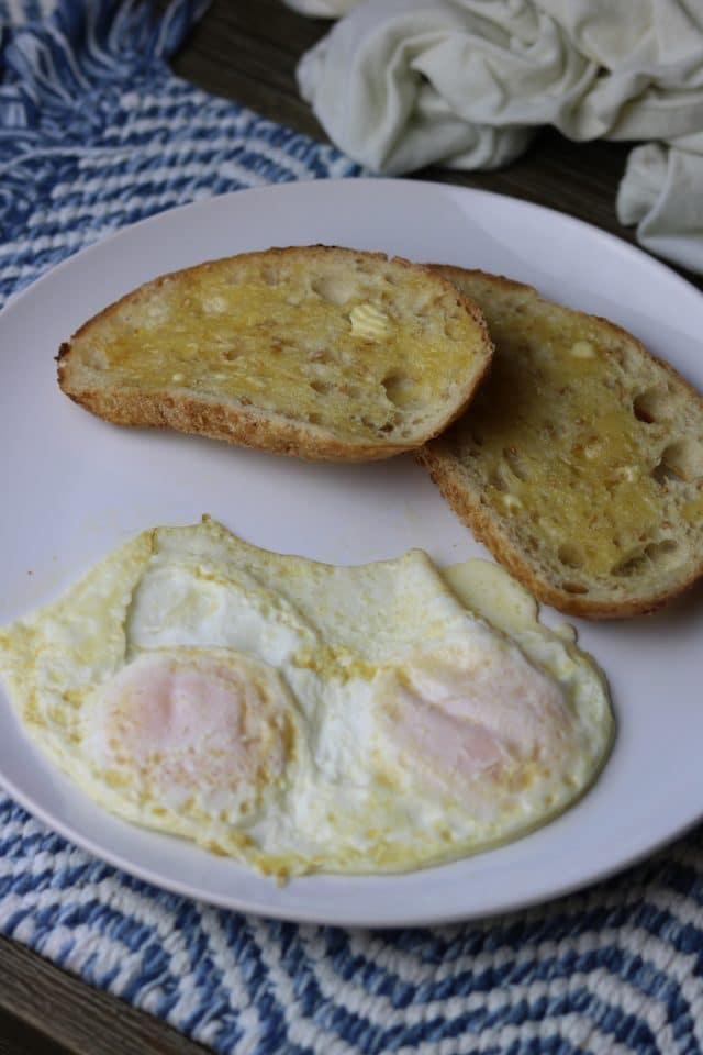 For breakfast I had two eggs and two small slices of toasted sourdough with butter.