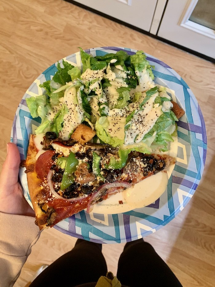 For dinner we ordered in pizza from a local pizza shop and paired it with a caesar salad we had at Corrine's house. So yum! I had one slice and refilled my caesar salad. I was leaving room for milk and a brownie!