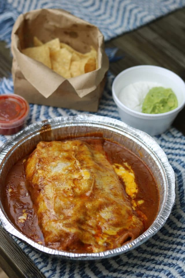 For lunch, we picked up a wet carne asada burrito from Ortega's in Atascadero. Sooo yum! We shared this + the chips and guac.