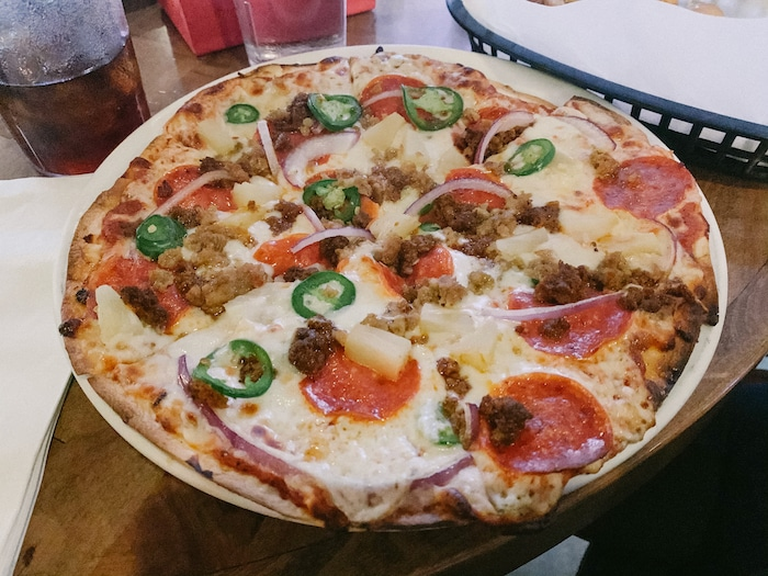 While we were out, I got hungry and ordered this spicy pizza and un-pictured pretzel bites to share. I had two slices of this pizza and a few pretzel bites and shared the rest