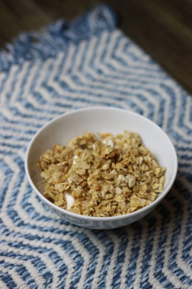 When we got home I had this bowl of greek yogurt with honey and granola.