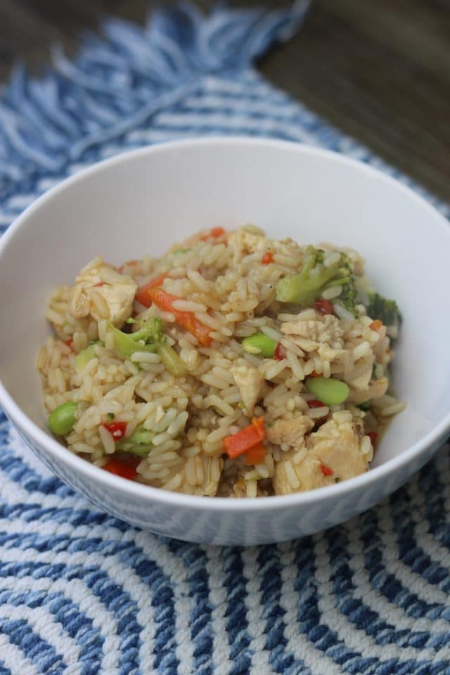 For lunch, we had teriyaki chicken, rice, and veggie bowls (from Costco). Yum!