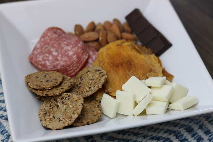 This one had salami, white cheddar goat cheese, roasted almonds, dried mango slices, and dark chocolate.