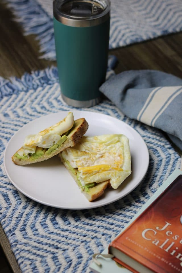 I made two eggs with avocado slices on a slice of sourdough (and sipped the rest of my coffee). I ate slowly and read Jesus Calling with breakfast and journaled after.