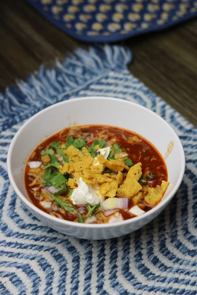 For dinner, I made my favorite Instant Pot chili recipe for us and a couple friends. We had a cozy night in watching football and eating dinner together. I topped mine with onion, cilantro, sour cream and some corn chips.