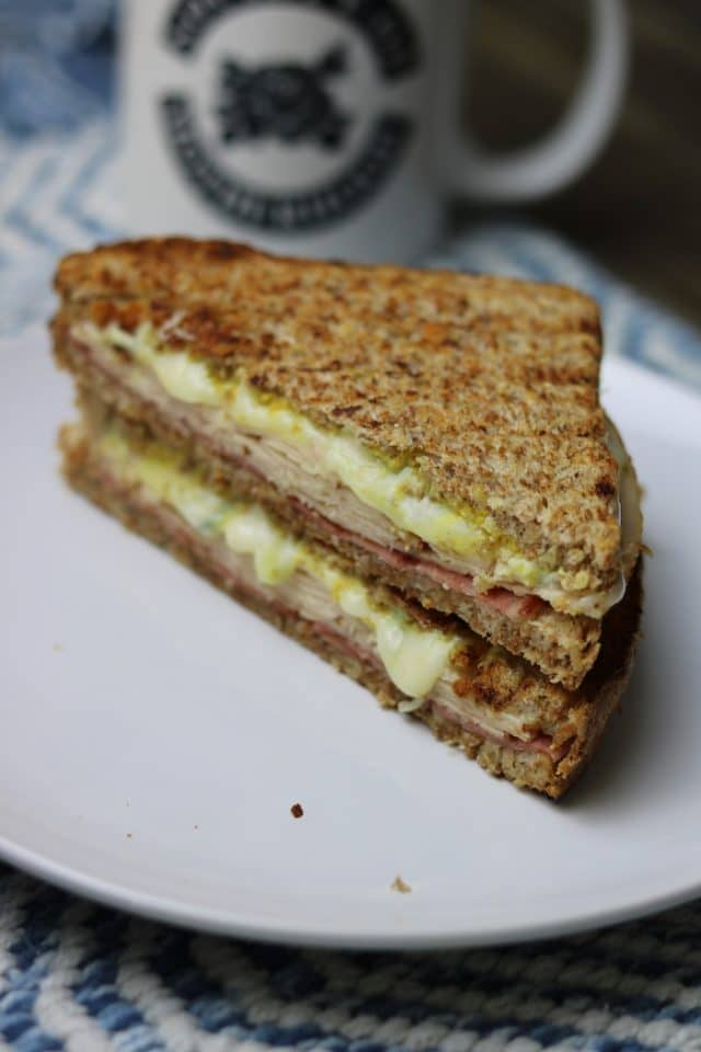 For lunch, I made a panini with deli chicken, salami (both heated up on the panini press), provolone, blue cheese crumbles, mayo and mustard on Ezekiel. I wanted melty, cheesy, toasty goodness.