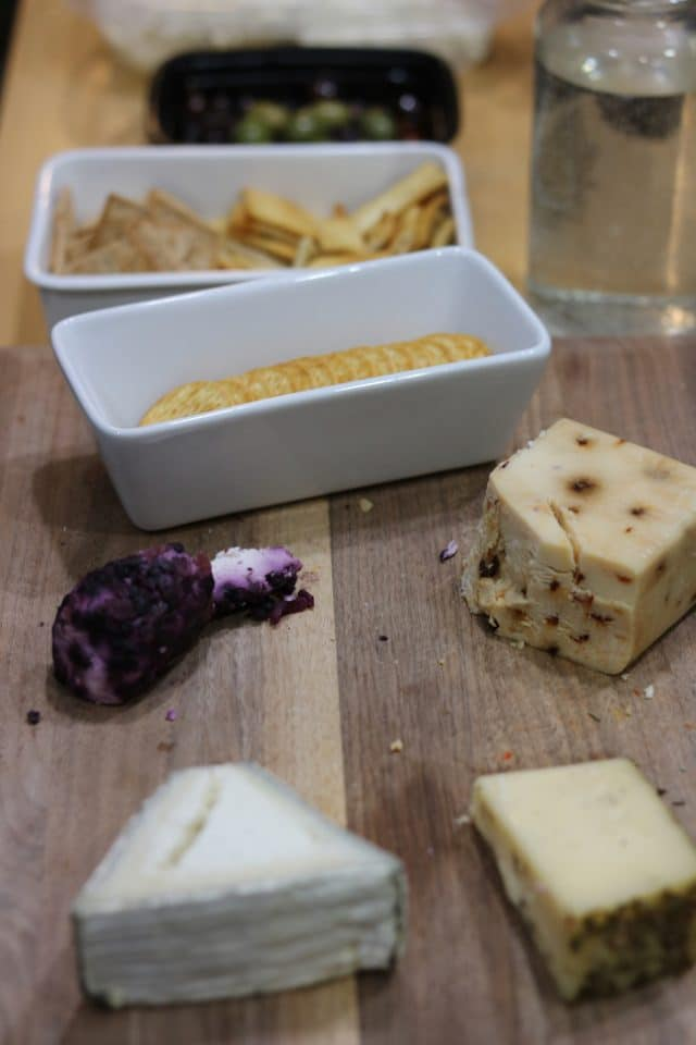 The first of our leftovers: a cheese plate. We snacked on this while chatting and letting dinner heat up.