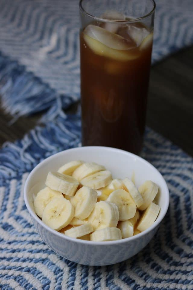 I had this greek yogurt with honey and a banana, plus iced tea.