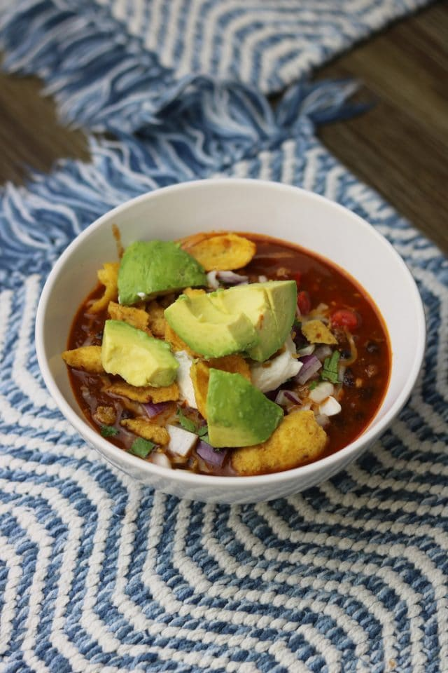 For lunch, I had a bowl of leftover chili with added avocado. Yum! After lunch
